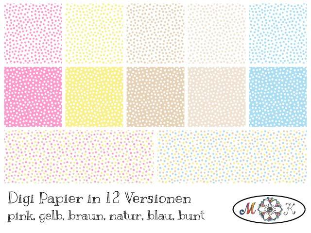 Übersicht Digi Papier Pünktchen - Passend zu Digi Stamp Osterhase Ole-01