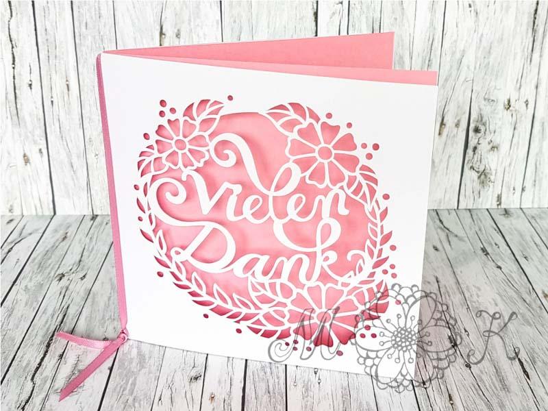 Faltkarte Vielen Dank (rosa)-miriamkreativ