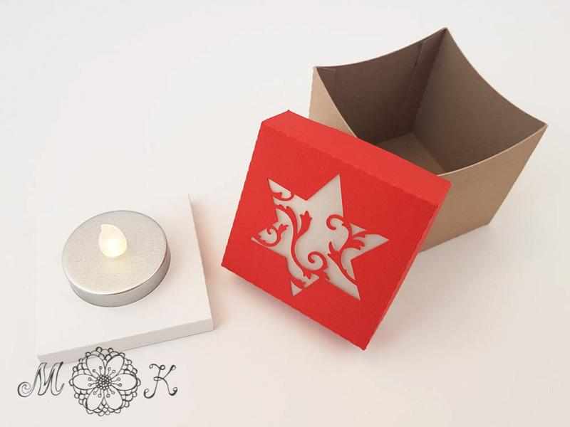 Schoki-Verpackung mit Stern - umgesetzt als Leuchtdeko mit LED-Teelicht