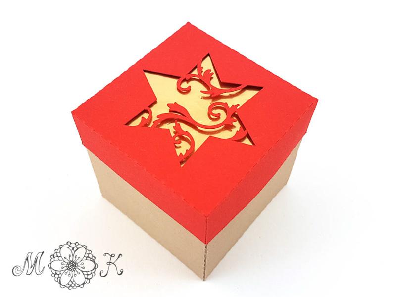 Schoki-Verpackung mit Stern - gefüllt mit 4 hanuta (geschlossen)