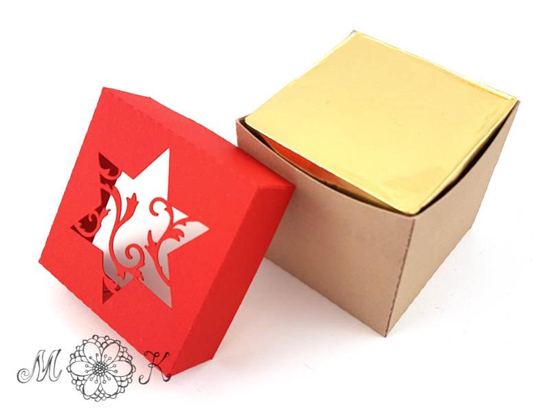 Schoki-Verpackung mit Stern - gefüllt mit 4 hanuta (offen)