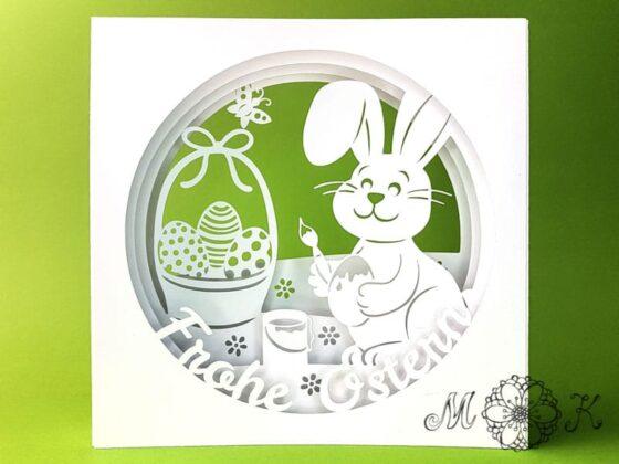 Plotterdatei Osterkarte mit Hase Ostereiern Korb und Schmetterling - Tunnelkarte Frohe Ostern