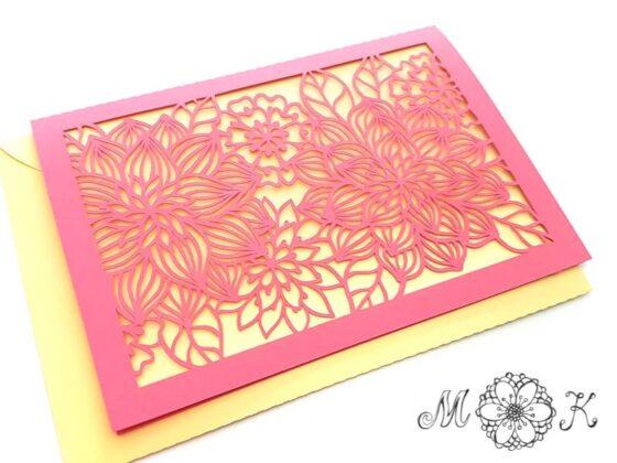 Plotterdatei Grußkarte - Faltkarte mit Blumen - vielseitig verwendbar