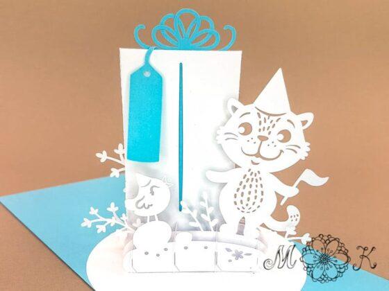 Plotterdatei Pop-up-Karte Geldgeschenk (Katze mit Partyhut und Geschenk)