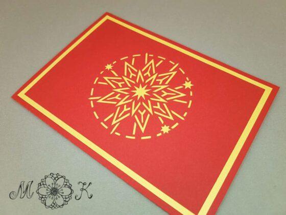 Plotterdatei Weihnachtskarte Pop-up-Karte Stern - geschlossen