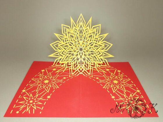 Plotterdatei Weihnachtskarte Pop-up-Karte Stern - offen