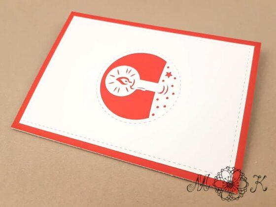 Plotterdatei Weihnachtskarte Engel umgesetzt in rot und weiß (geschlossen) - Außenseite mit Kerze