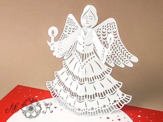 Plotterdatei Weihnachtskarte Engel umgesetzt in rot und weiß (offen / Nahaufnahme)