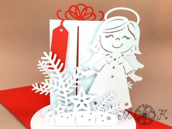 Plotterdatei Weihnachtskarte Gutschein (offen von vorne)