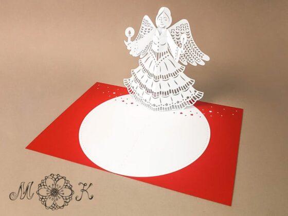 Plotterdatei Weihnachtskarte Engel umgesetzt in rot und weiß (offen)