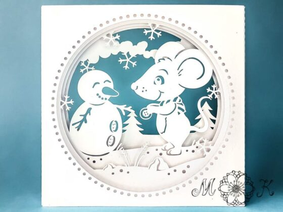 Plotterdatei (SVG) Winterkarte Weihnachtskarte Tunnelkarte Maus mit Schneemann