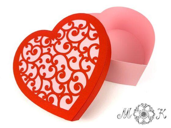 Plotterdatei Herdose mit Schnörkel-Deckel Verpackung zu Valentinstag, Muttertag, Hochzeit (offen) - miriamkreativ