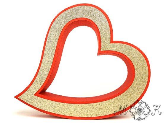 Plotterdatei geschwungenes Herz / 3D-Herz frei stehend zu Hochzeit, Valentinstag, Muttertag (frontal)