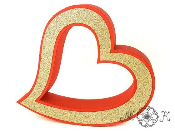 Plotterdatei geschwungenes Herz / 3D-Herz frei stehend zu Hochzeit, Valentinstag, Muttertag (seitlich)