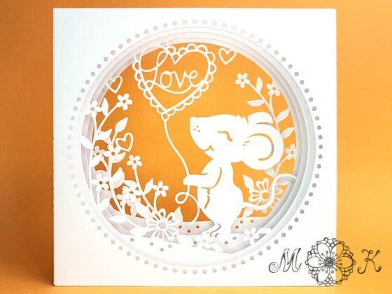 Plotterdatei Valentinskarte Hochzeitskarte Maus mit Herz-Ballon - miriamkreativ