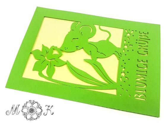 Plotterdatei Faltkarte Grußkarte Maus mit Narzisse - miriamkreativ