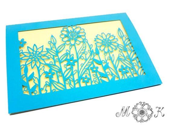 Faltkarte Blumenwiese - vielseitige Grußkarte - umgesetzt in blau und gelb