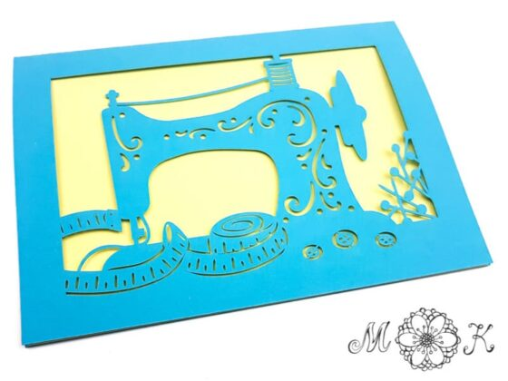 Faltkarte Nähmaschine (Grußkarte für Nähbegeisterte)