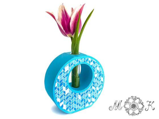 Reagenzglas-Vase in rosa und blau (Plotterdatei svg) mit Deckseiten