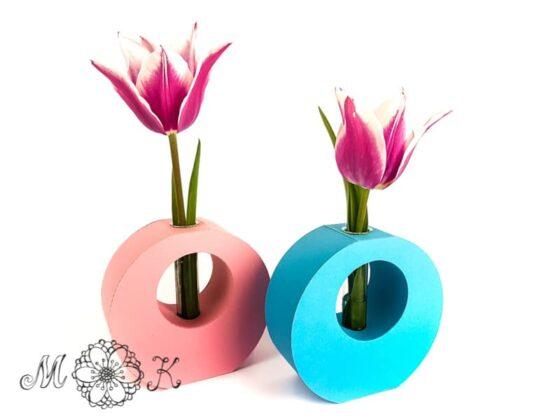 Reagenzglas-Vase in rosa und blau (Plotterdatei svg) ohne Deckseiten