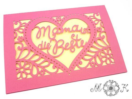 Plotterdatei für Muttertagskarte mit Herz (SVG) - umgesetzt in pink und gelb