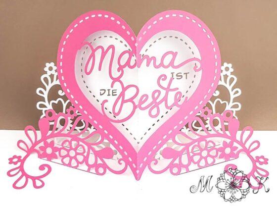 Pop-up-Karte Mama ist die Beste (offen) - umgesetzt in pink und weiß