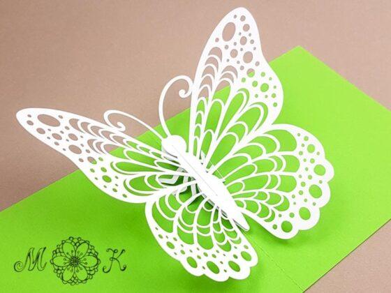 Pop-up-Karte Schmetterling (offen)