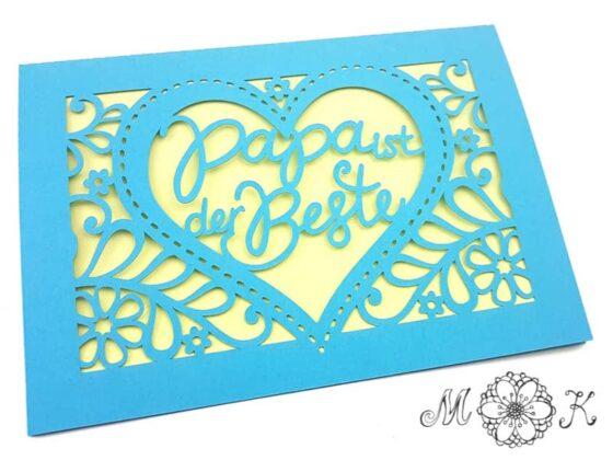 Plotterdatei für Vatertagskarte - Faltkarte umgesetzt in blau und gelb