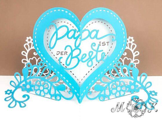 Pop-up-Karte Papa ist der Beste (offen) - mit Herz, Blumen und Schriftzug