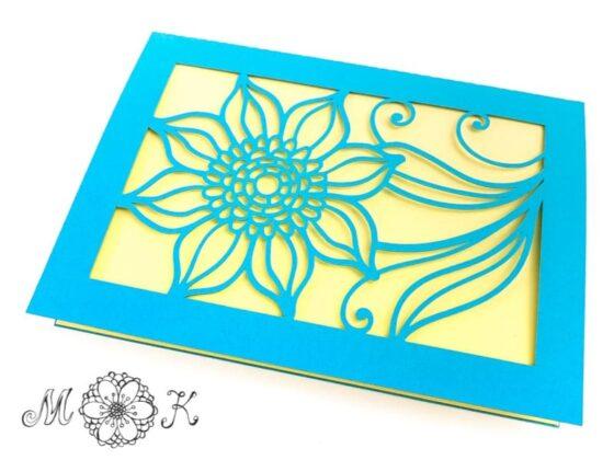 Plotterdatei Grußkarte Blume mit Schnörkel