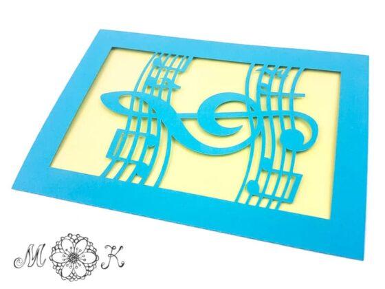 Plotterdatei Faltkarte Musik (umgesetzt in blau und gelb)