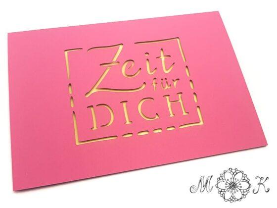 Plottertdatei Faltkarte Zeit für dich (umgesetzt in pink und gelb)