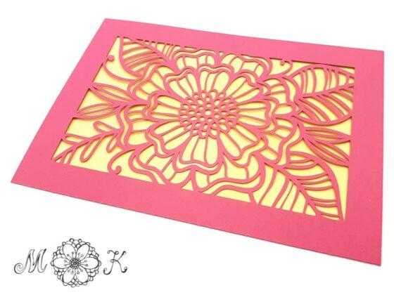 Faltkarte Blume mit Blättern (umgesetzt in altrosa und gelb)