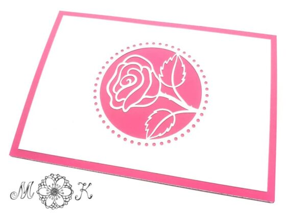 Pop-up-Karte Rose (in rosa / pink) - geschlossen