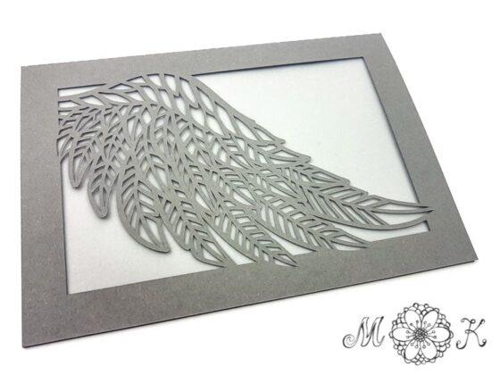 Plotterdatei Trauerkarte - Faltkarte Flügel - umgesetzt in grau und weiß