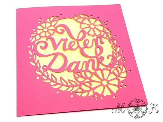 Plotterdatei Faltkarte Vielen Dank - neue Version - umgesetzt in pink und gelb