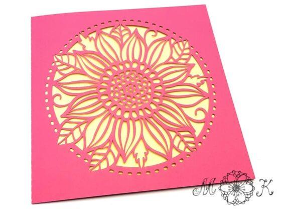 Plotterdatei Faltkarte quadratisch mit Blume - umgesetzt in rosa und gelb