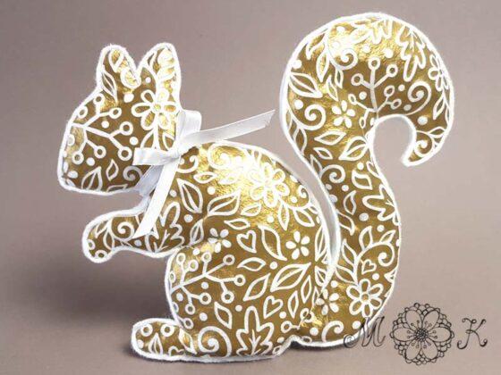 Deko-Eichhörnchen aus Filz mit Folienmotiv Eichhörnchen - Herbst-Hörnchen Version 2