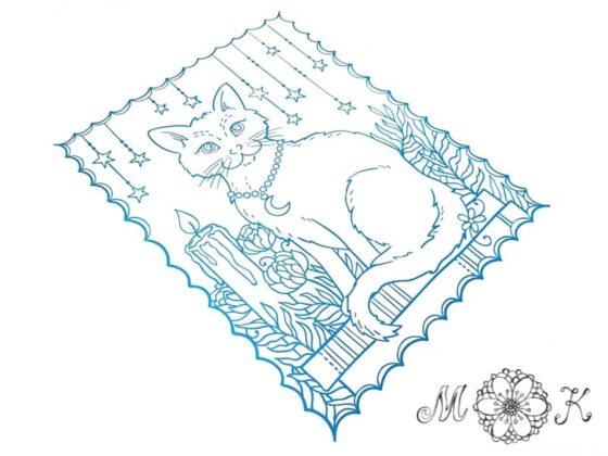Plotterdatei Katze mit Kerze - miriamkreativ