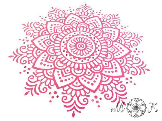 Folienmotiv Mandala mit Strass (Nummer 13) in pink