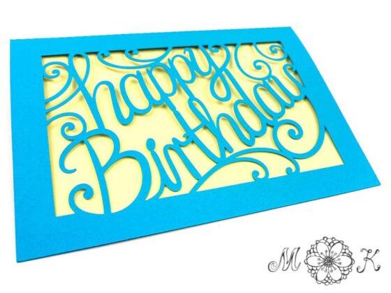 Plotterdatei Geburtstagskarte happy Birthday - umgesetzt in blau und gelb