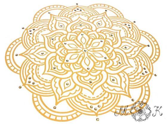 Folienmotiv Mandala mit Strass (Nummer 11) in Gold-Tönen