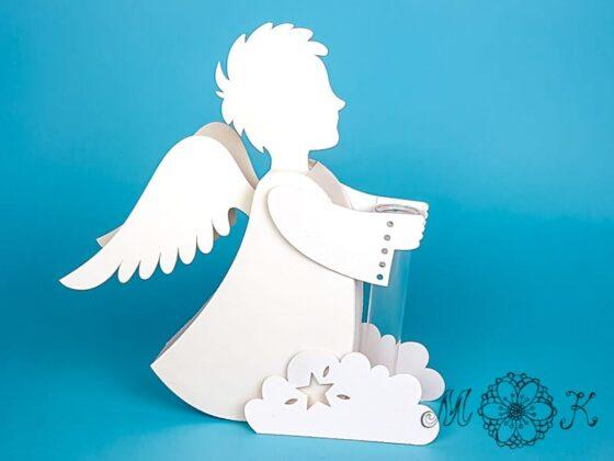 Deko Engel mit Reagenzglas und Wolke für zusätzliche Standsicherheit