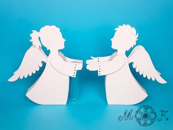 Deko Engel mit und ohne Reagenzglas