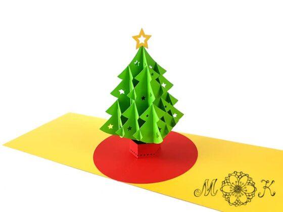 Pop-up-Karte Weihnachtsbaum (offen, seitlich)