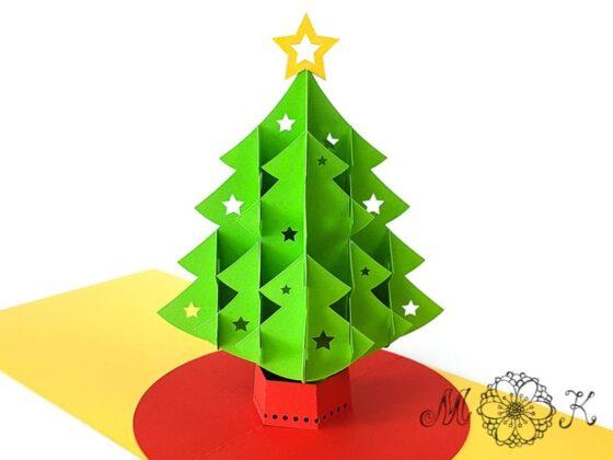 Pop-up-Karte Weihnachtsbaum (offen, frontal)