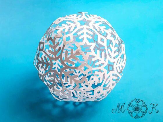 Winter-Deko-Kugel (Plotterdatei svg) umgesetzt ganz in weiß