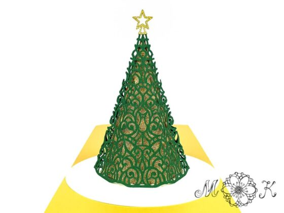 Weihnachtsbaum-Pop-up-Karte (filigran) in grün, gold und weiß