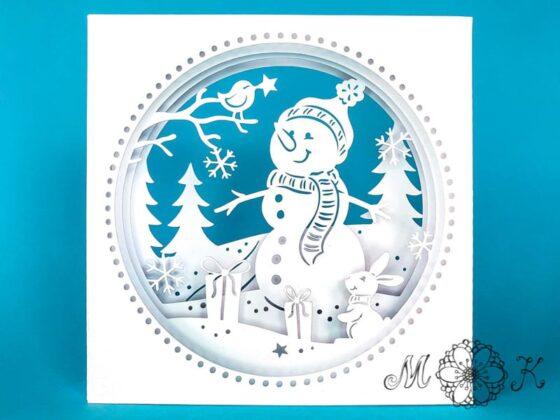 Plotterdatei niedliche Winter-Tunnelkarte mit Schneemann, Hase und Vögelchen