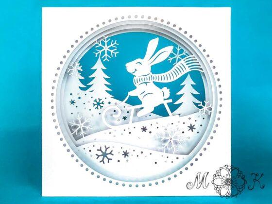 Plotterdatei Tunnelkarte Hase auf Schlitten (Winter und Ostern in einem Projekt)
